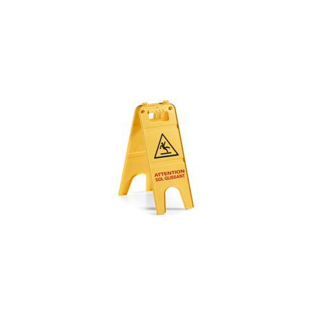 Panneau d'avertissement jaune en français sol glissant