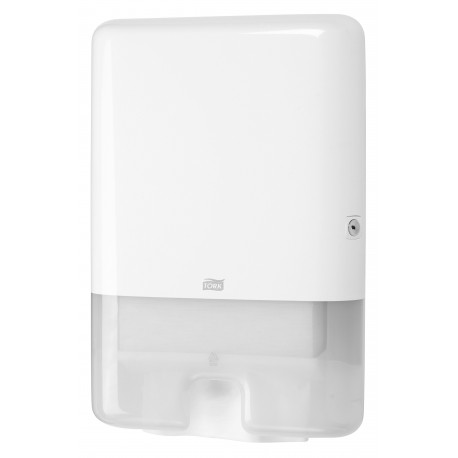 Distributeur Tork H2 blanc pour essuies mains pliés H2
