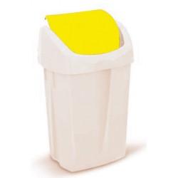 Poubelle à clapet jaune 25L par 4